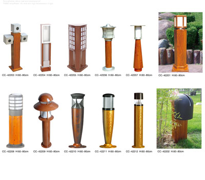 Imitation wood grain lawn lamp